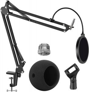 Adjustable Mic Stand with Dual-Layered Mic Pop Filter by InnoGear